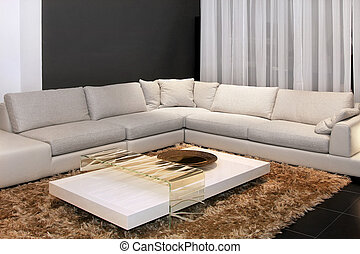 Corner settee - Interior of living room with settee in...