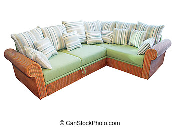 Corner settee - Wicker corner settee isolated included...