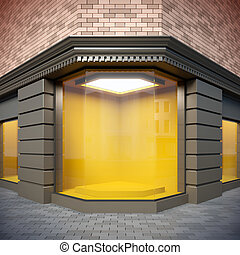 Corner showcase in classical style. - A 3D illustration of ...