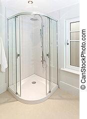 Corner shower - Open glass door at shower in corner