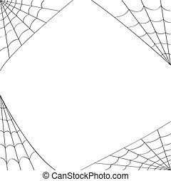 Four different spider webs designed to fit in the corners of pages. Use as is for a spider web border.