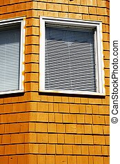 Corner windows of orange building