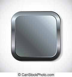 corners., ボタン, 広場, 円形にされる, 金属