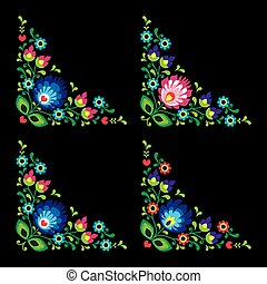 Corners border Polish floral folk art vector pattern - Wzory...