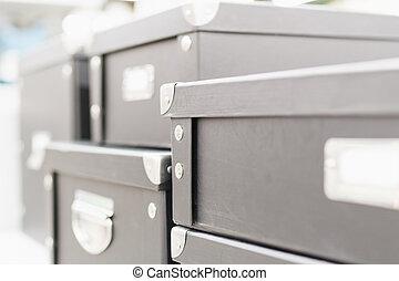 corners., coperchi, magazzino, scatola metallo, vista, concetto, closeup