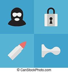 cornes, autre, vecteur, criminel, fermé, icons., synonyms, éléments, ensemble, gun., criminel, simple, illustration, coup