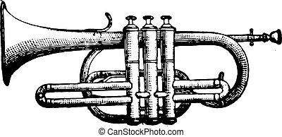 Cornet piston, vintage engraving. - Cornet piston, vintage...