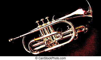 Posterized view of silver cornet against dark background