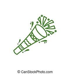 corneta, accesorio, celebración, aislado, icono