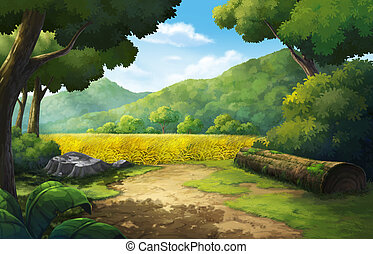 Cornfield in the morning - Illustration mountainin and...
