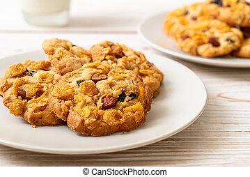 cornflake, ciasteczka, migdały, rodzynek