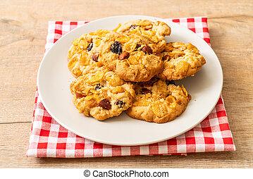 cornflake, migdały, rodzynek, ciasteczka