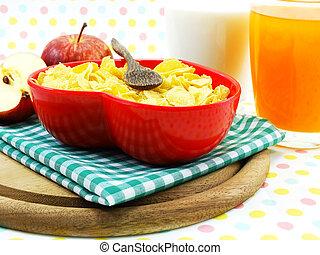 cornflake, ognisko, rano, selekcyjny, śniadanie, mleczny