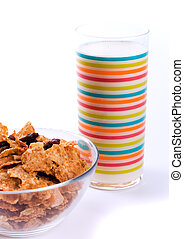 cornflakes and glass of milk