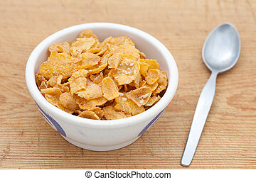 Cornflakes in a white bowl