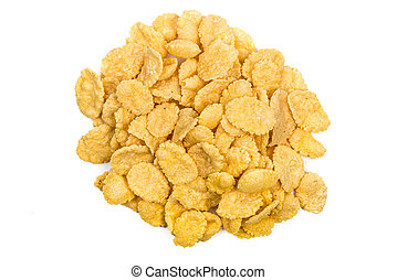Cornflakes isolated close up Top view