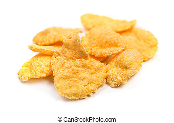 Cornflakes isolated macro