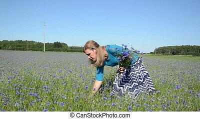cornflower bouquet woman