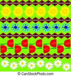cornflower, dandelion, abstratos, seamless, tulipa, pattern.eps