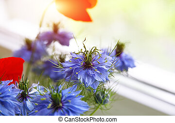 Cornflower in the bouquet.