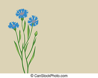 cornflower silhouette on brown background, vector illustration