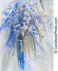 cornflowers and camomiles watercolor - cornflowers and...
