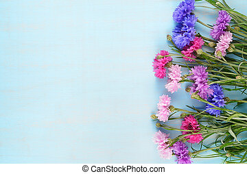 Cornflowers on blue background with copy-space