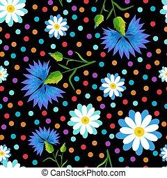 cornflowers, puntos, margaritas