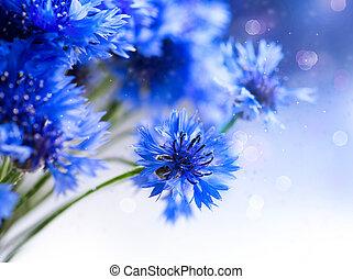 cornflowers., sauvage, bleu fleurit, blooming., frontière, art, conception