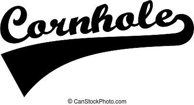 cornhole, font, retro