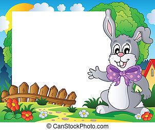 cornice, 2, pasqua, tema, coniglietto
