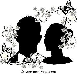cornice, 2, silhouette, flourishes, matrimonio