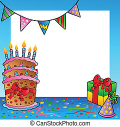 cornice, 2, tema, compleanno
