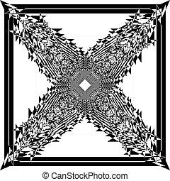 cornice, albero, arabesco, trasparente, illusione, natale, fondo, astratto, nero