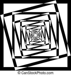 cornice, angolo, intersected, astratto, nero, prospettiva, fondo, ripetere, trasparente