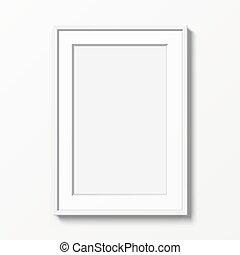 cornice, appendere, wall., verticale, bianco