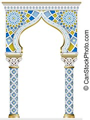 cornice, arco, mosaico, orientale