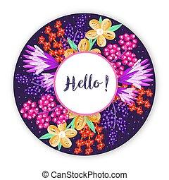 cornice, artistico, disegnato, floreale, flowers., cerchio, mano, creativo, astratto, colorito, fondo, design., fiore