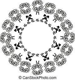 cornice, augurio, illustrazione, vettore, disegno, floreale, scheda