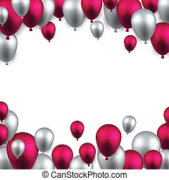 cornice, balloons., celebrare, fondo