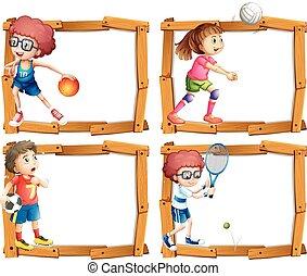 cornice, bambini, gioco, sagoma, sport