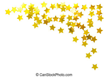 cornice, bianco, stelle, isolato