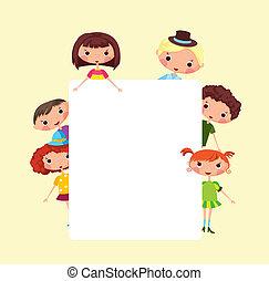 cornice, cartone animato, bambini
