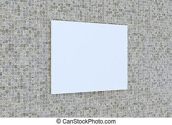 cornice, ceramica, vuoto, 3d-rendering, wall.