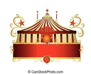 cornice, circo, bordo, rosso