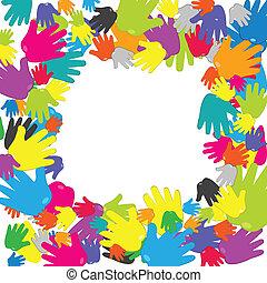 cornice, colorato, mani
