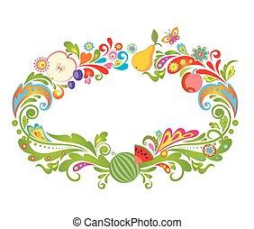 cornice, colorito, frutte