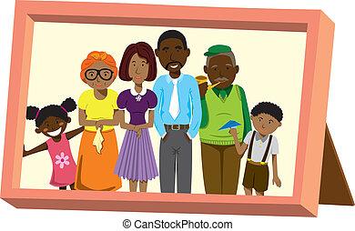cornice, con, africano, ritratto famiglia
