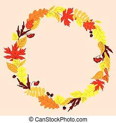 cornice, con, autunno, congedi cadenti