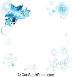 cornice, con, blu, stelle, e, fiocchi neve
